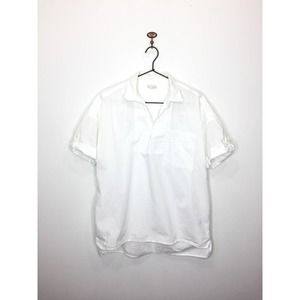 Gap White Cotton Short Sleeve Collared Blouse S